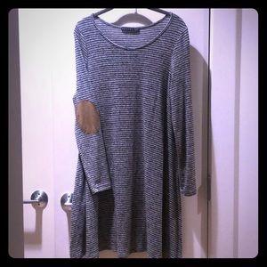 Anthropologie Striped Sweater Dress w/ elbow patch